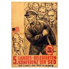 Original Vintage Poster Socialist Unity Party Of Germany SED Conference Workers