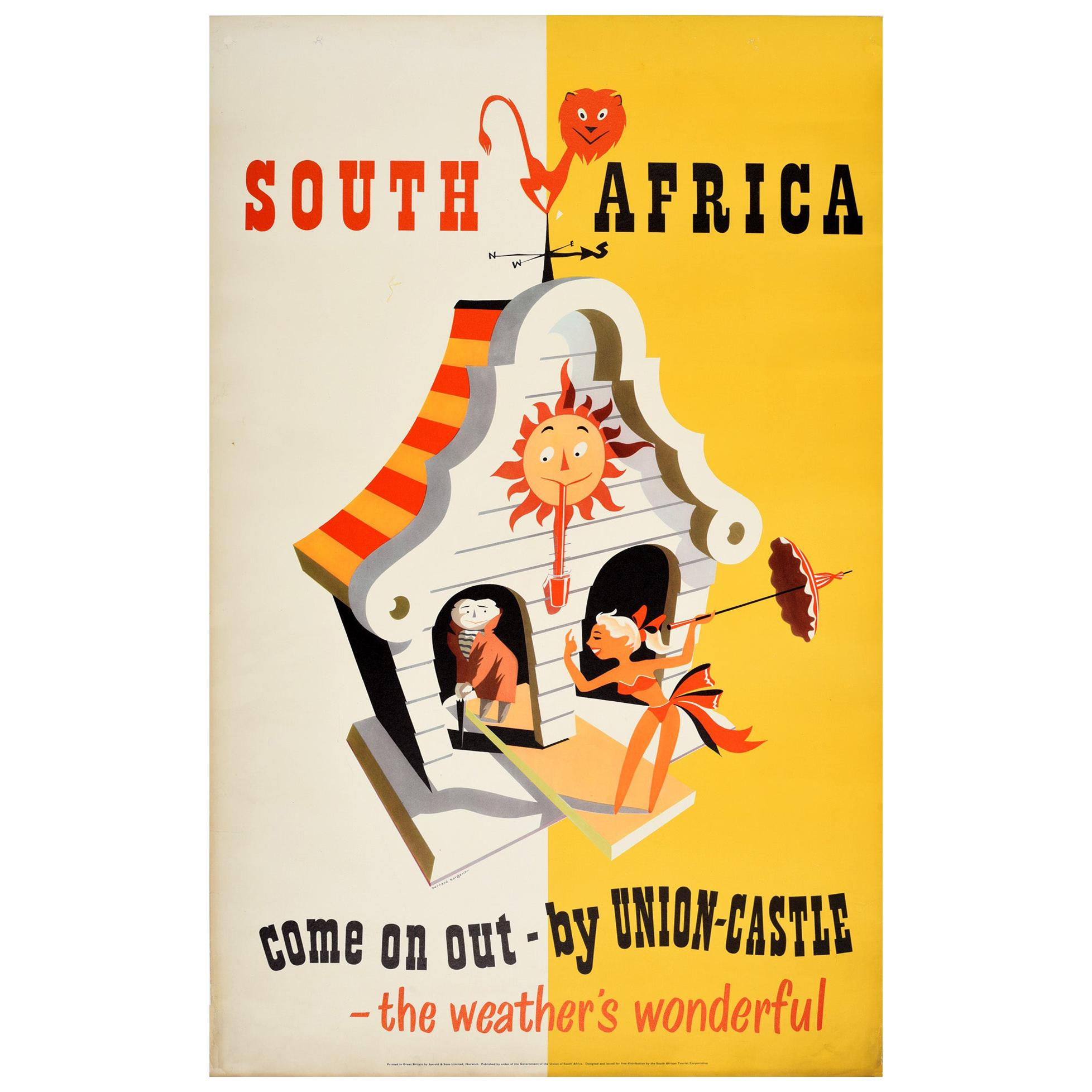 Original Vintage Poster South Africa Come On Out Union Castle Line Cruise Travel