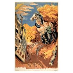 Original Vintage Poster South London Transport Travel Countryside Harvest Horse