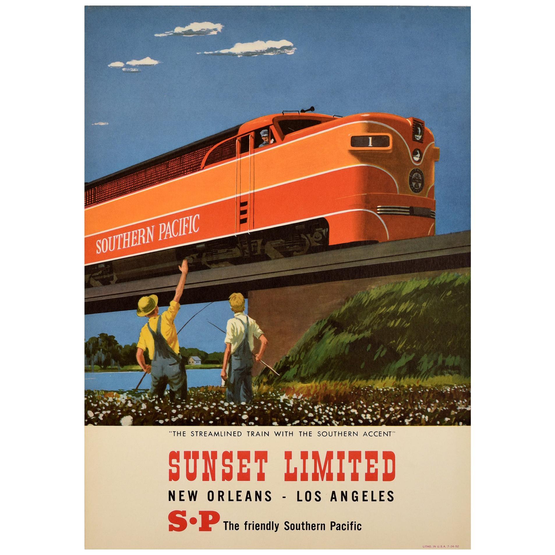 Original Vintage Poster Southern Pacific Railroad Streamlined Train Sunset Ltd