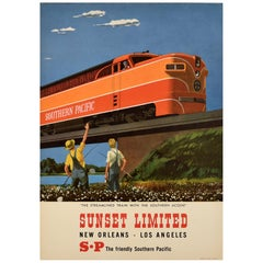 Original Vintage Poster Southern Pacific Railroad Streamlined Train Sunset Ltd