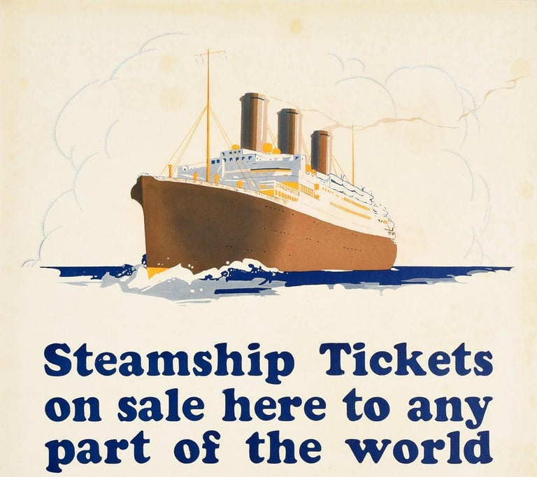 Original vintage cruise travel advertising poster issued by Southern Pacific featuring an ocean liner sailing at sea with the steam rising into a lightly cloudy sky above the bold blue stylised text - Steamship Tickets on sale here to any part of