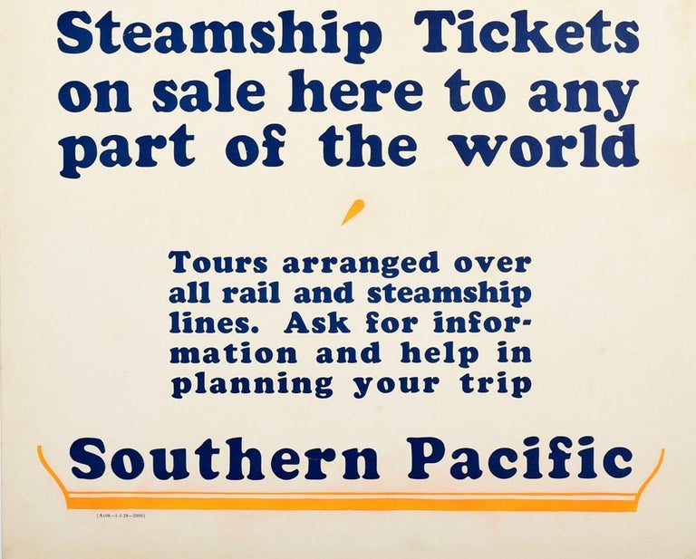 American Original Vintage Poster Southern Pacific Steamship Ocean Liner Cruise Travel Art For Sale