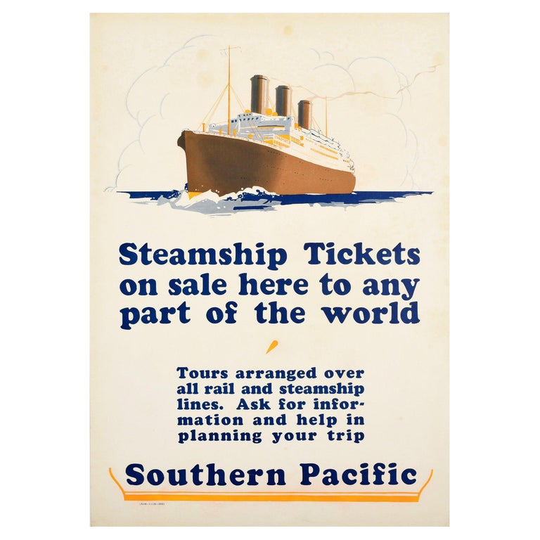 Original Vintage Poster Southern Pacific Steamship Ocean Liner Cruise Travel Art For Sale
