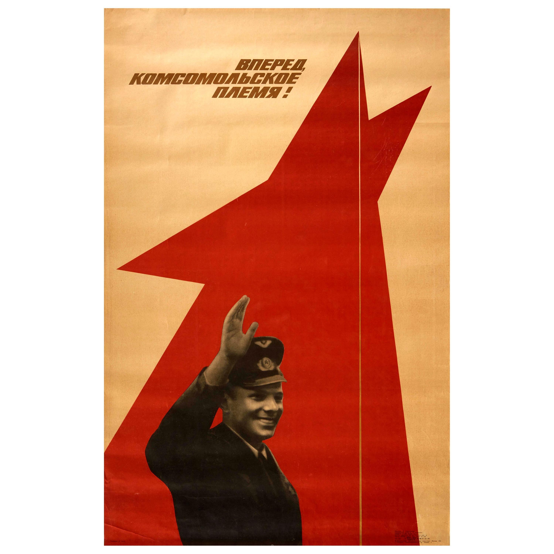 Original Vintage Poster Soviet Propaganda Komsomol Youth Yuri Gagarin Space Race