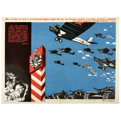 Original Vintage Poster Soviet Propaganda We Stand For Peace Air Force Military