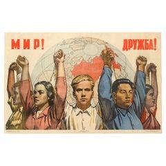 Original Vintage Poster Soviet Propaganda World Peace & International Friendship