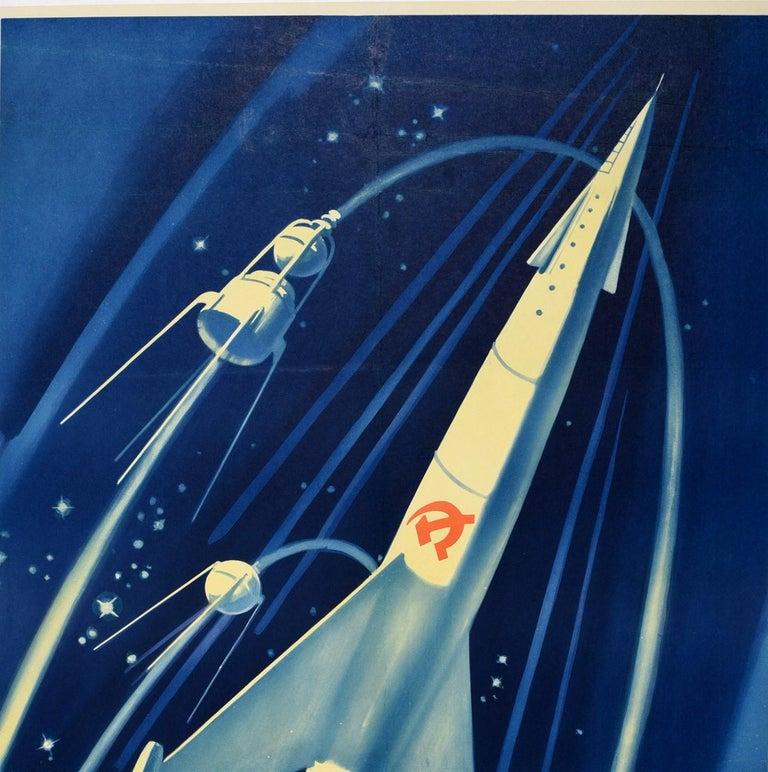 Russian Original Vintage Poster Soviet Rocket Universe Exploration Space Race Propaganda For Sale