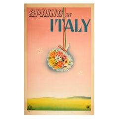 Original Vintage Poster Spring In Italy Travel Flowers Hills Flag Butterflies