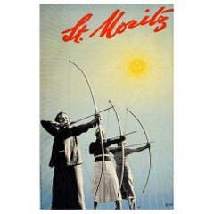 Original Vintage Poster St Moritz Swiss Alps Winter Sport Archery Travel Design