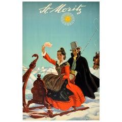 Original Vintage Poster St Moritz Switzerland Swiss Alps Travel Horse Sleigh Art