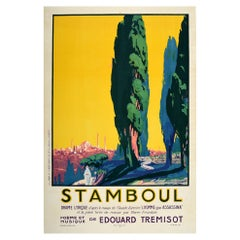 Original Vintage Poster Stamboul Music Theatre Drama Play Istanbul Turkey Design