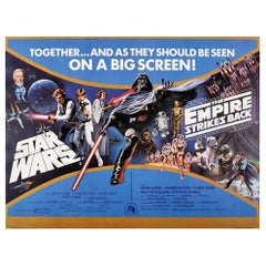 Original Vintage Poster Star Wars & The Empire Strikes Back Sci-Fi Film Classics