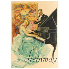 Original Vintage Poster Steinway & Sons Piano Music Tapestry Pianist Art Design