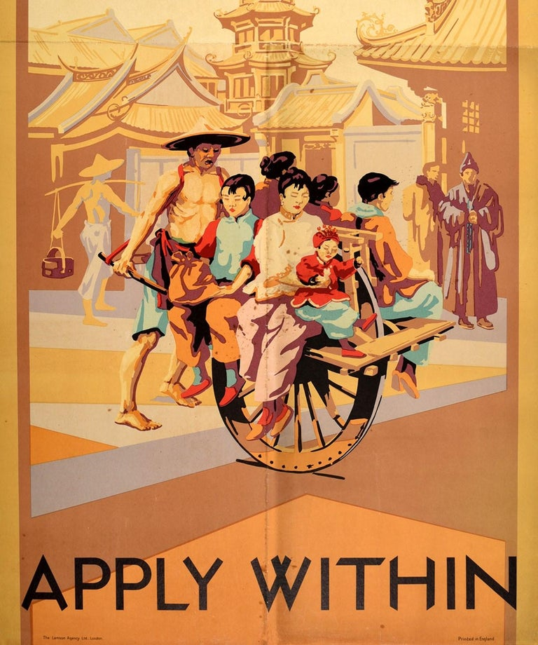 British Original Vintage Poster Straits China Japan By P&O Cruise Ship Travel To Asia For Sale