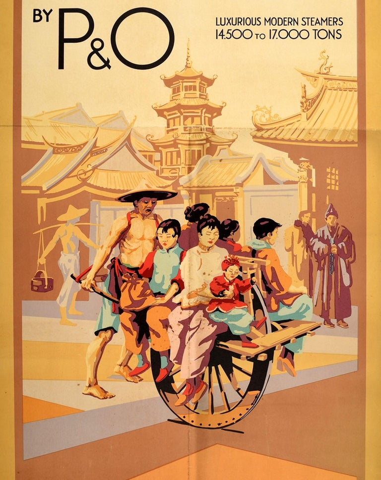 Original Vintage Poster Straits China Japan By P&O Cruise Ship Travel To Asia In Fair Condition For Sale In London, GB