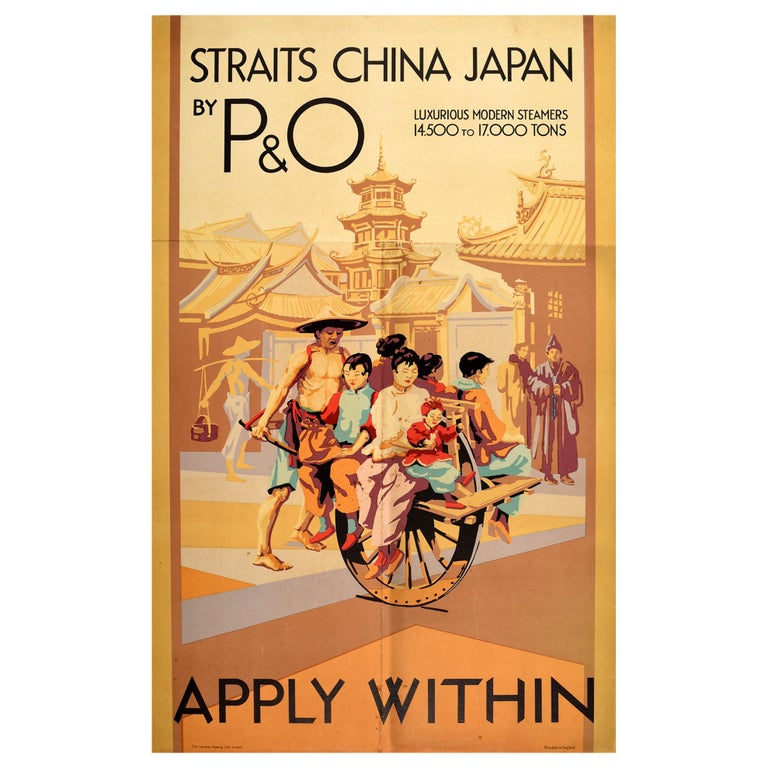 Original Vintage Poster Straits China Japan By P&O Cruise Ship Travel To Asia For Sale