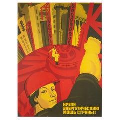 Original Vintage Poster Strengthen The Country's Electrical Energy Power USSR