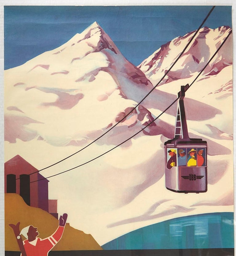 Original vintage poster for the Stubach Weissee Seilbahn cable car featuring a scenic winter sport image of a skier on the side holding his skis and ski poles in one arm and waving to the smiling people in the cable car enjoying the view of the
