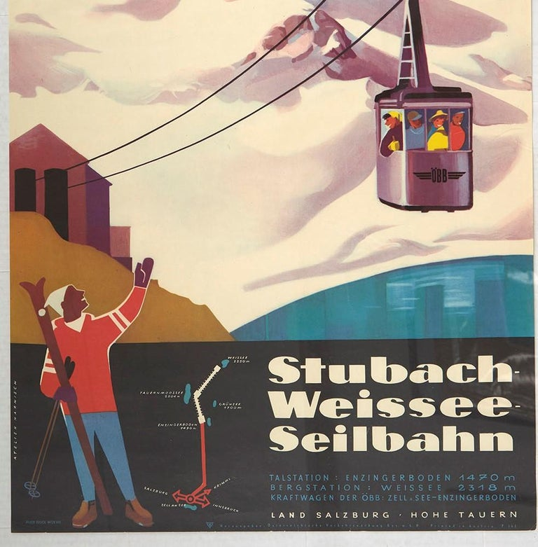 Austrian Original Vintage Poster Stubach Weissee Seilbahn Winter Sport Skiing Travel Art For Sale