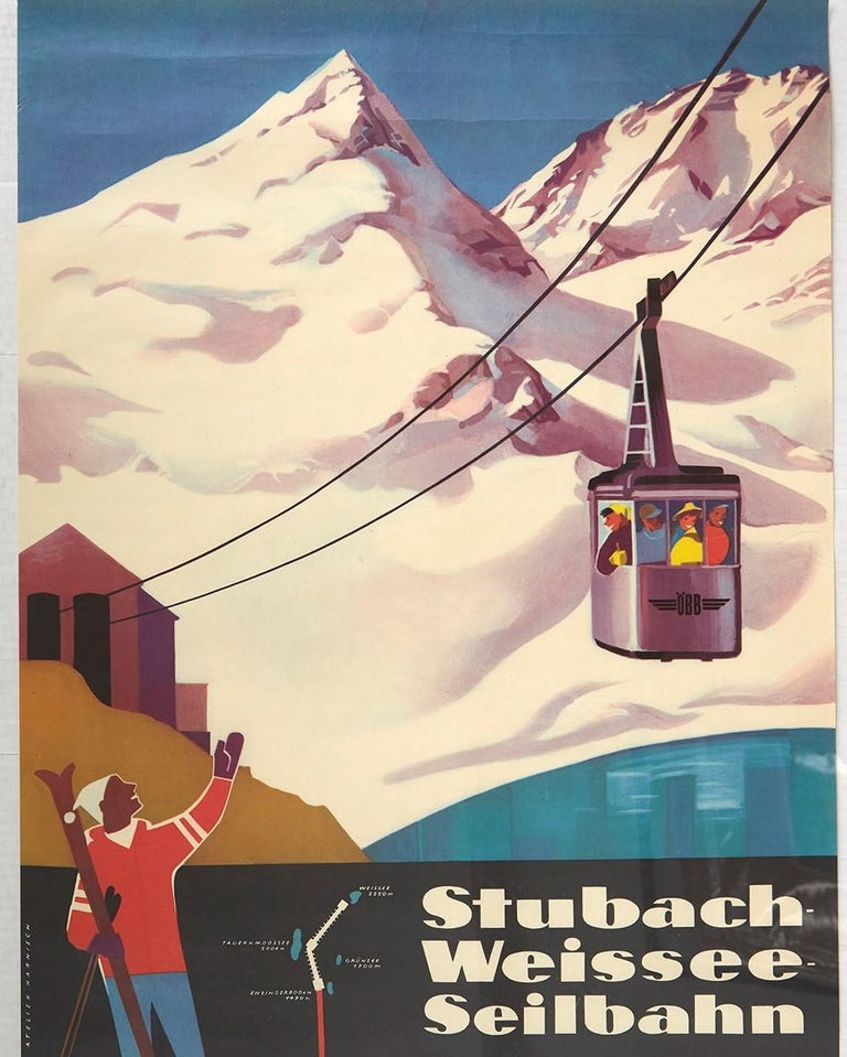 Original Vintage Poster Stubach Weissee Seilbahn Winter Sport Skiing Travel Art In Good Condition For Sale In London, GB