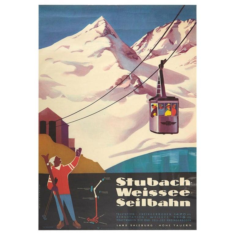 Original Vintage Poster Stubach Weissee Seilbahn Winter Sport Skiing Travel Art For Sale