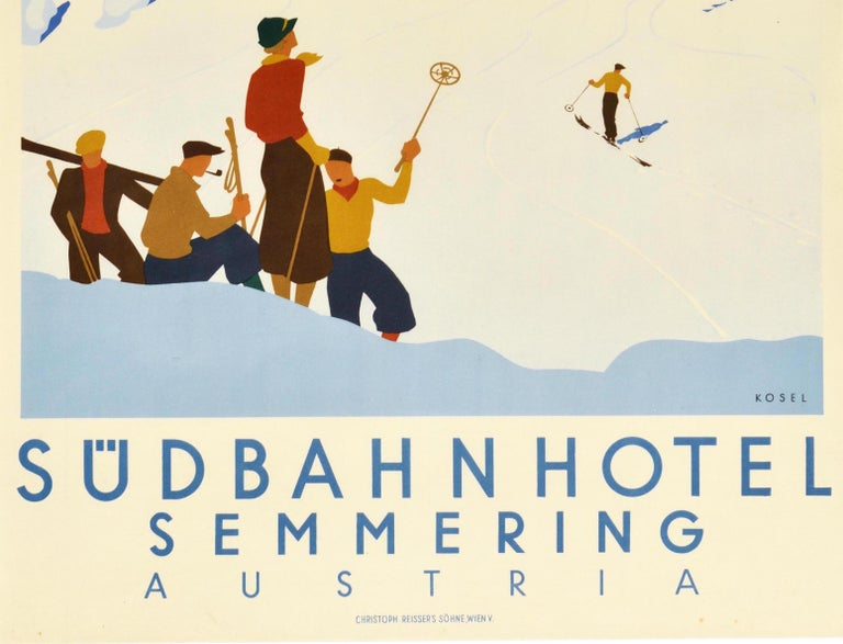 Austrian Original Vintage Poster Sudbahnhotel Semmering Austria Skiing Winter Sport Spa For Sale