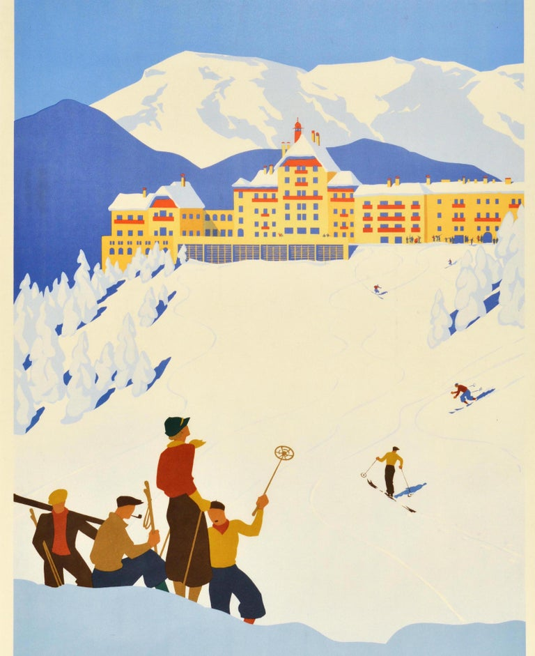 Original Vintage Poster Sudbahnhotel Semmering Austria Skiing Winter Sport Spa In Good Condition For Sale In London, GB