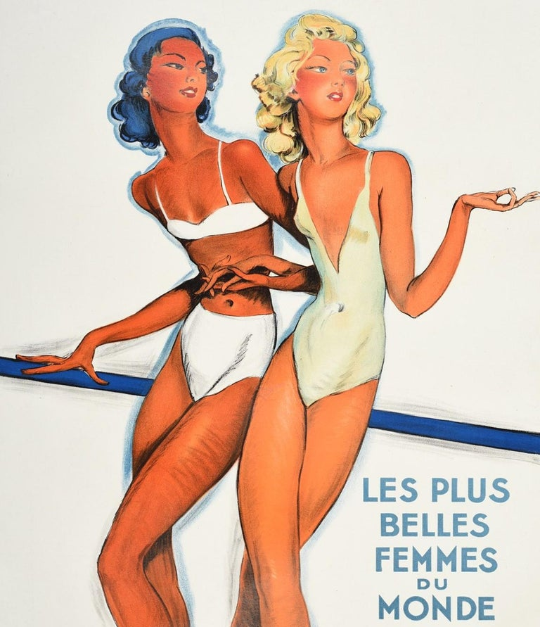 French Original Vintage Poster Summer In Monte Carlo Travel Pin Up Design Belle Femmes For Sale