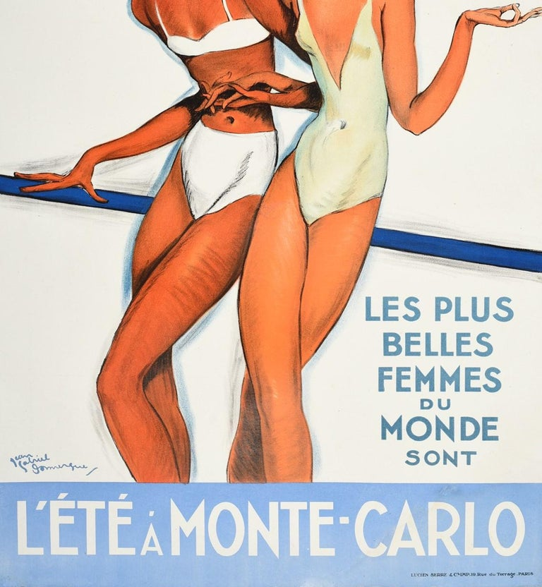 Original Vintage Poster Summer In Monte Carlo Travel Pin Up Design Belle Femmes In Good Condition For Sale In London, GB