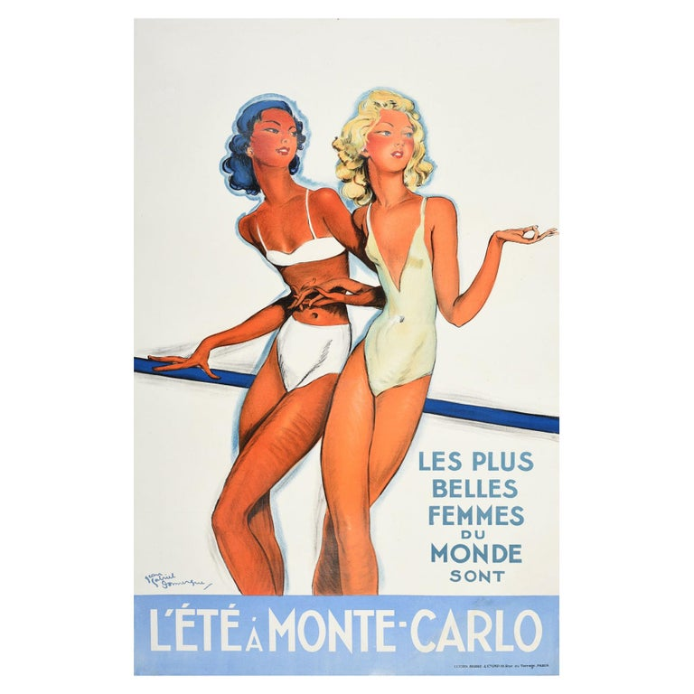 Original Vintage Poster Summer In Monte Carlo Travel Pin Up Design Belle Femmes For Sale