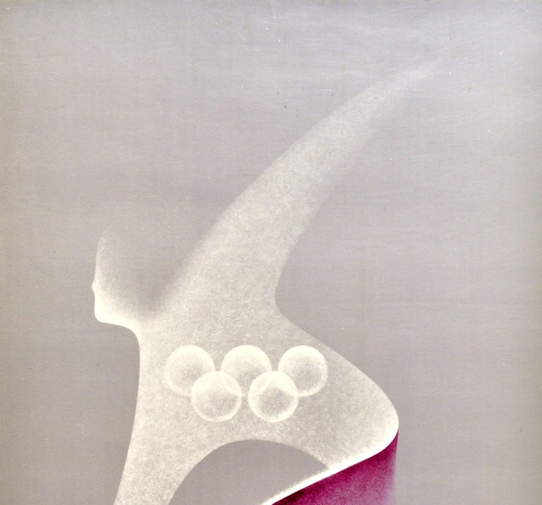 Original vintage Soviet sport poster for the 22nd Summer Olympic Games / the Games of the XXII Olympiad in 1980 held in Moscow Russia featuring a great graphic illustration by the Polish artist Karol Sliwka (1932-2018) of an athlete leaning forward