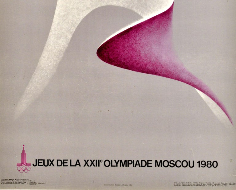 Russian Original Vintage Poster Summer Olympic Games Moscow 1980 Athletics Sport Design For Sale