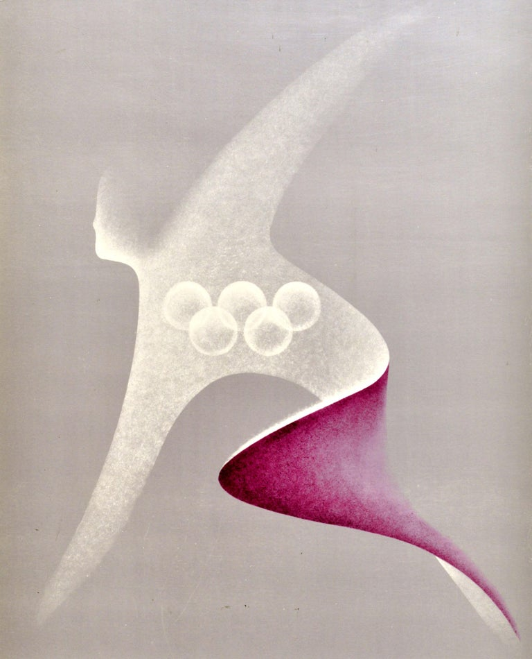 Original Vintage Poster Summer Olympic Games Moscow 1980 Athletics Sport Design In Good Condition For Sale In London, GB