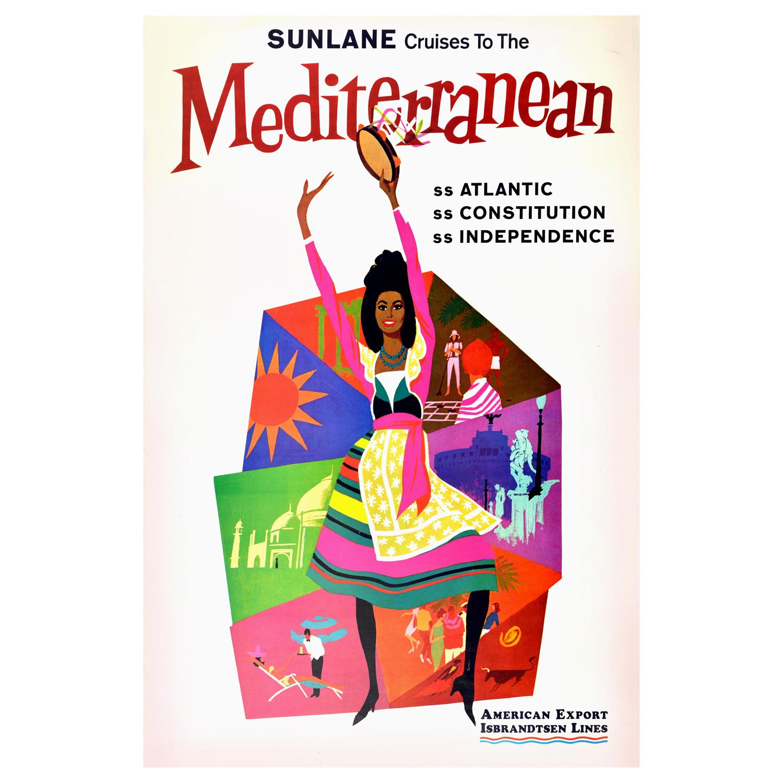 Original Vintage Poster Sunlane Cruises To The Mediterranean Travel Art Atlantic