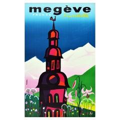 Original Vintage Poster Sunny Megeve Mont Blanc France Ski Resort Spring Flowers