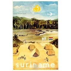 Original Vintage Poster Suriname South America Chicago New York Miami Paramaribo
