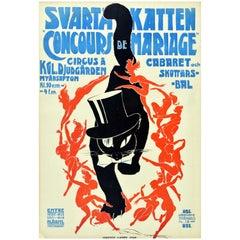 Original Vintage Poster Svarta Katten Black Cat Art New Year Cabaret Circus Ball