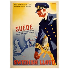 Original Vintage Poster Svenska Lloyd Travel London Paris Norway Sweden Denmark