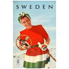 Original Vintage Poster Sweden Skiing Travel Winter Sport Mountain Ski Design