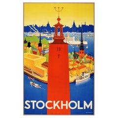 Original Vintage Poster Sweden Stockholm City Hall Ships Travel Art Deco Design