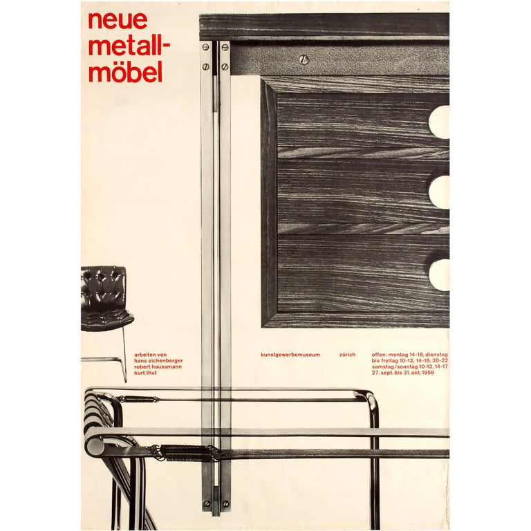 Original Vintage Poster Swiss Group Furniture Exhibition Design