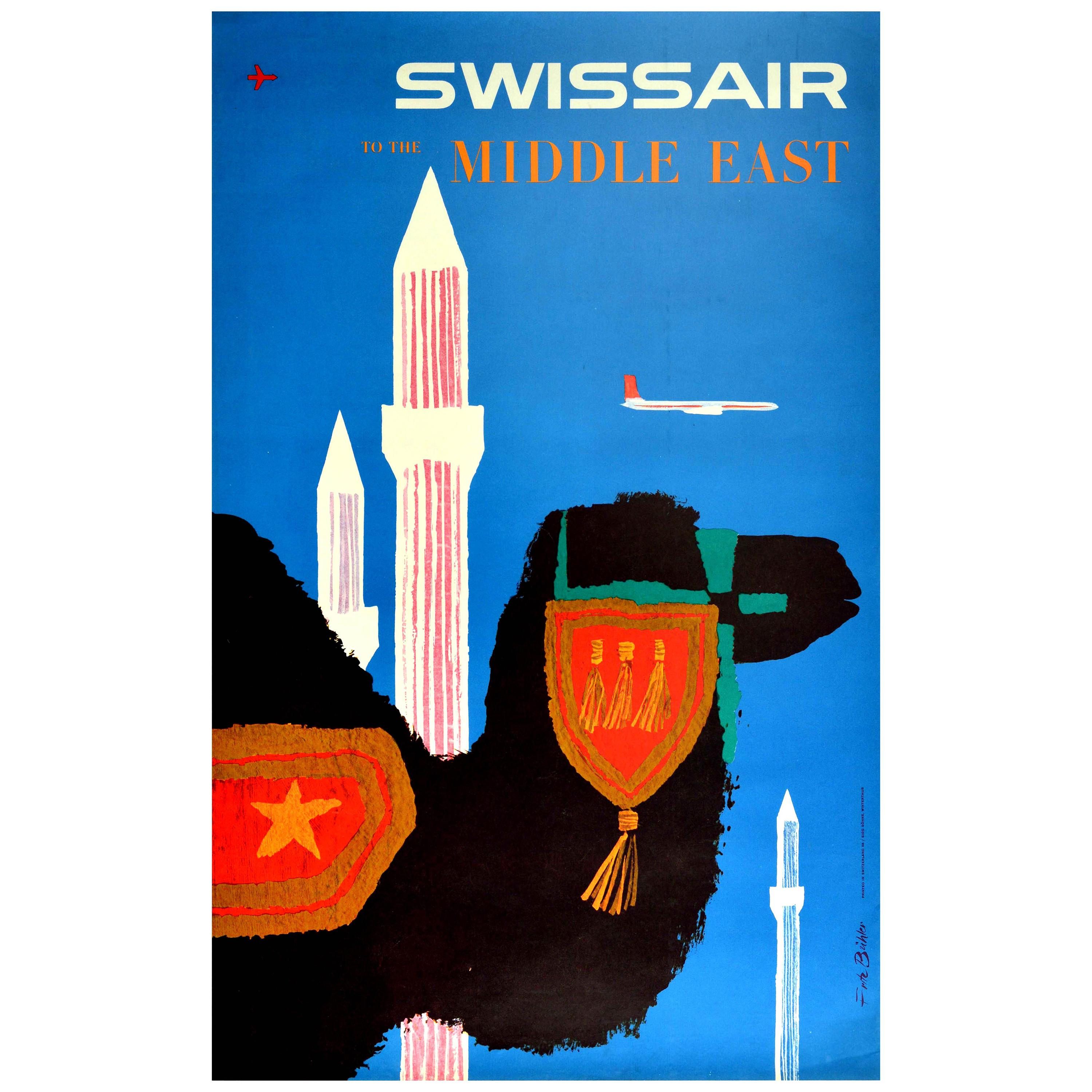 Original Vintage Poster Swissair To The Middle East Airline Travel Plane Camel