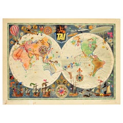 Original Vintage Poster TAI Planisphere Map Of The World Travel Aviation History