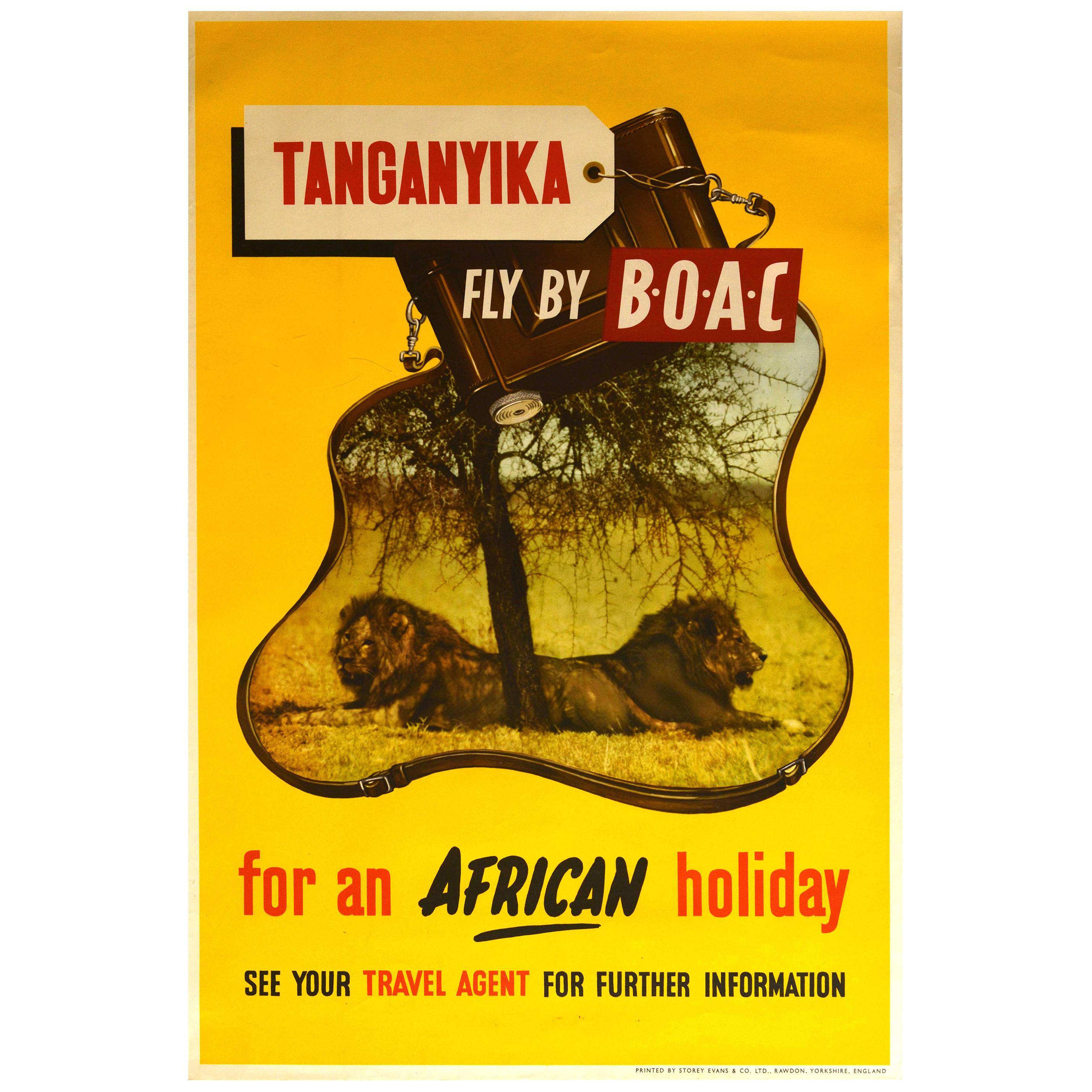 Original Vintage Poster Tanganyika Fly By BOAC Africa Holiday Lion Safari Travel
