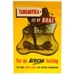 Original Vintage Poster Tanganyika Fly By BOAC Africa Holiday Lion Safari Travel