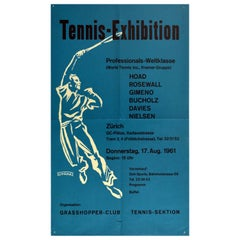 Original Vintage Poster Tennis Exhibition World Cup Pros Grasshopper Club Zurich