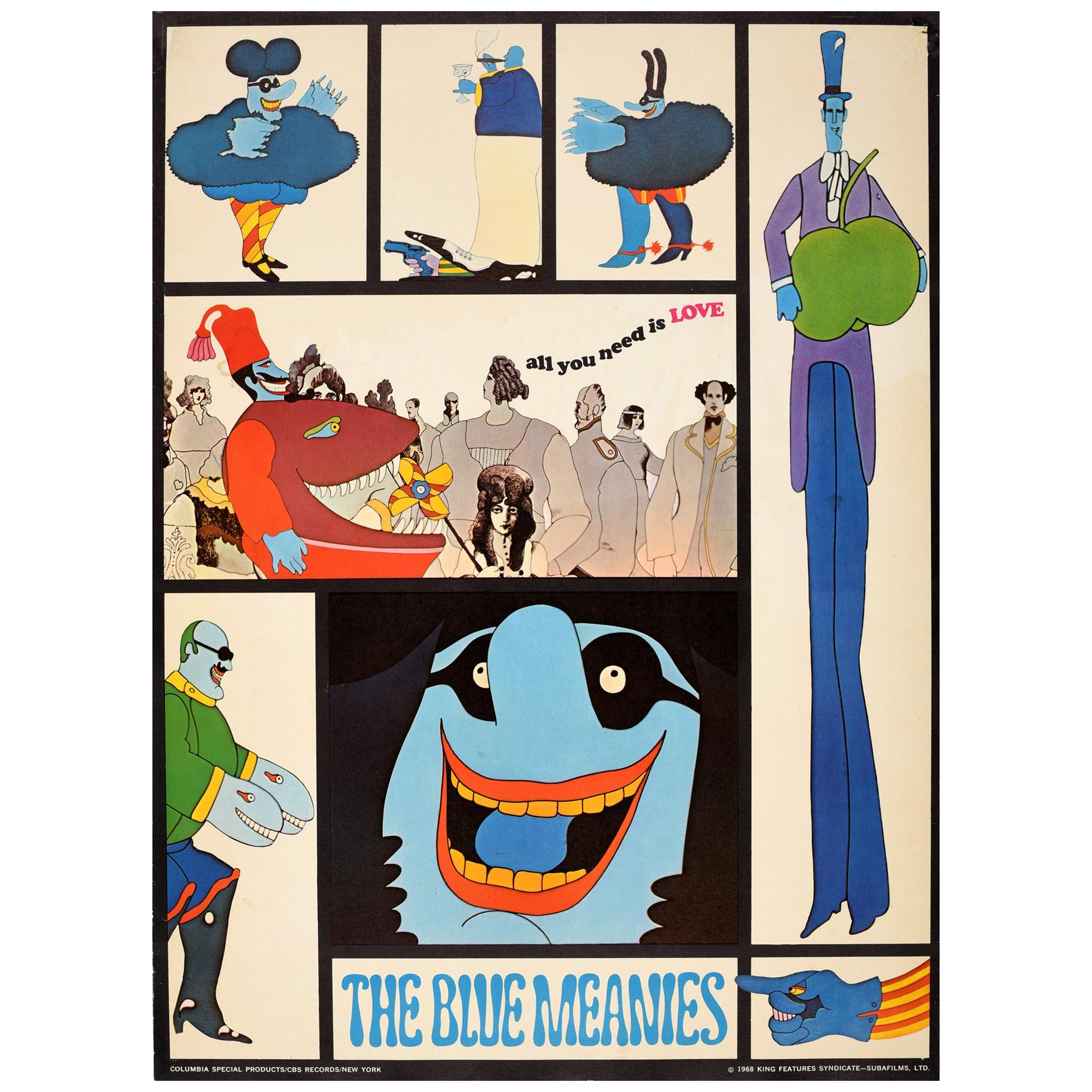 Original Vintage Poster The Blue Meanies Yellow Submarine Film The Beatles Music