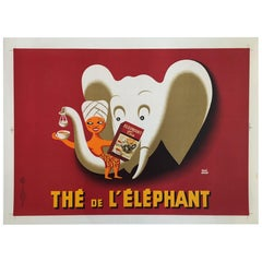 Original Vintage Poster, Thé de l'Elephant, Herve Morvan, 1952
