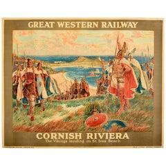 Original Vintage Poster The Vikings Landing On St Ives Beach Cornwall GWRailway